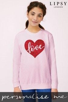Personalised Lipsy Light Pink Love In Your Heart Kid's Sweatshirt by Instajunction