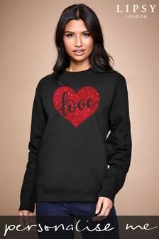 Personalised Lipsy Black Love In Your Heart Women's Sweatshirt by Instajunction
