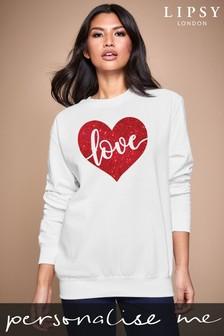 Personalised Lipsy White Love In Your Heart Women's Sweatshirt by Instajunction