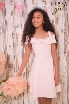 Lipsy Pink Bow Detail Skater Dress