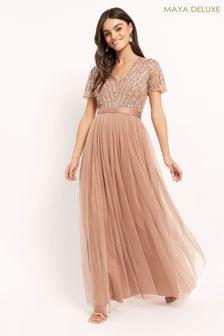 Maya Pink Chevron Sequin Maxi Dress