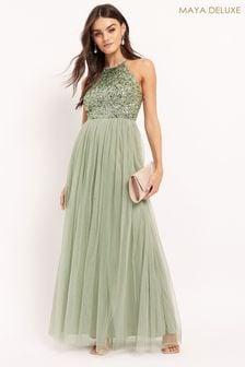 Maya Green Regular Halterneck Delicate Sequin Maxi Dress