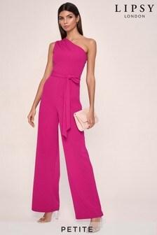Lipsy Pink Petite One Shoulder Jumpsuit