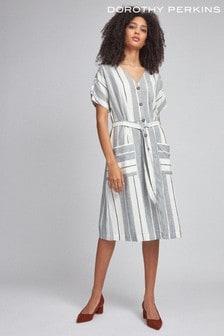 Dorothy Perkins Grey Stripe Linen Shirt Dress