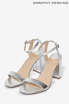 Dorothy Perkins Silver Block Heeled Sandal