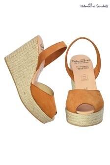 Palmaira Brown High Wedge Espadrille Sandals