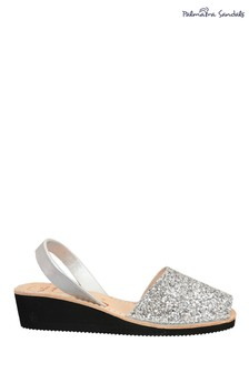 Palmaira Sandals Silver Sandals Leather Low Wedge