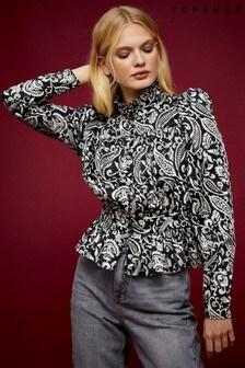 Topshop Monochrome Paisley Shirred Blouse