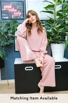 Love & Roses Blush Waffle Knitted Wide Leg Trousers