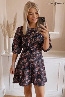 Love & Roses Black Floral Jersey Collared Skater Dress