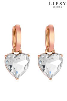 Lipsy Rose Gold Plated Crystal Heart Mini Drop Earring