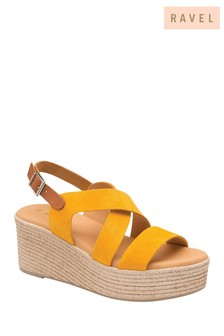 Ravel Yellow Suede Wedge Sandals