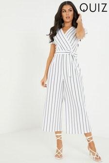 Quiz Striped Culotte Jumpsuit