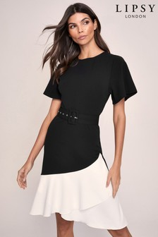 Lipsy Monochrome Flutter Sleeve Belted Midi Dress
