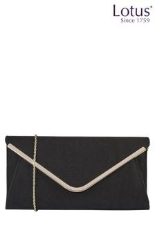 Lotus Black - Microfibre Clutch Bag