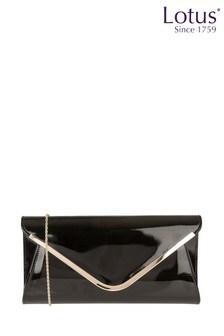 Lotus Black - Patent Clutch Bag
