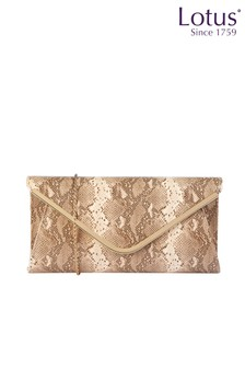 Lotus Footwear Neutral Snake Print Clutch Bag