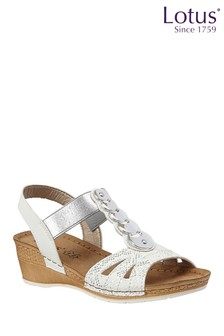 Lotus White Wedge Sandal
