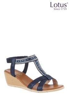Lotus Navy Footwear Wedge Sandals