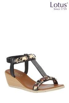 Lotus Black Footwear Wedge Sandals