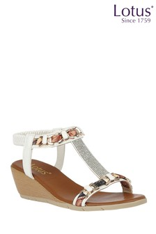 Lotus White Footwear Wedge Sandals