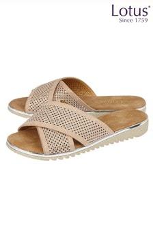 Lotus Footwear Nude Diamante Flat Mule Sandals
