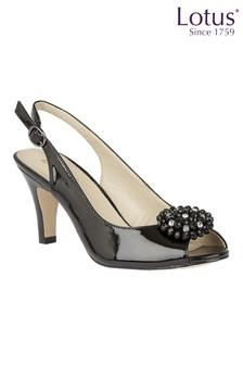 Lotus Footwear Black Patent Sling-Back Shoes