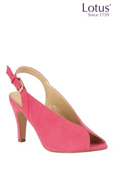 Lotus Footwear Fuchsia Microfibre Sling-Back Court Shoes