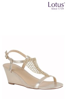 Lotus Gold Wedge Sandals