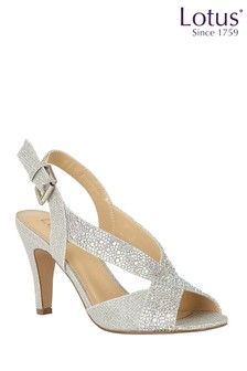 Lotus Footwear Silver Diamante Sling Back Shoes