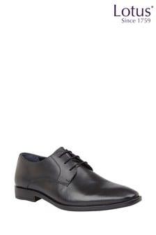 Lotus Black Leather Lace Up Shoes