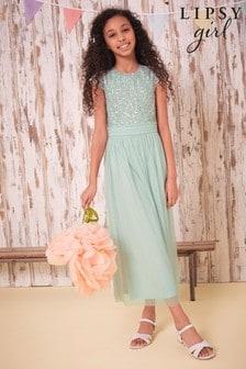 Lipsy Green Sequin Bodice Occasion Maxi Dress