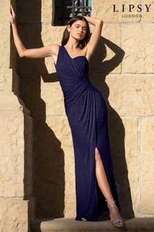 Lipsy Navy One Shoulder Glitter Maxi Dress