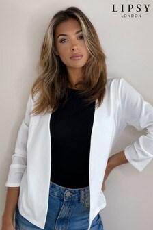 Lipsy White Jersey Ruched Sleeve Blazer