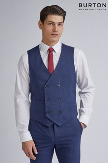Burton Navy Highlight Check Skinny Fit Suit Waistcoat