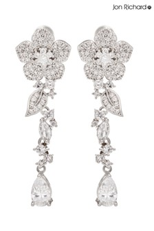 Jon Richard Silver Plated Cubic Zirconia Flower Drop Earrings