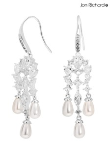 Jon Richard Silver Plated Cubic Zirconia & Pearl Waterfall Drop Earring