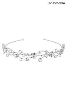 Jon Richard Silver Crystal Flower & Pearl Wave Headband