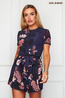 Girl In Mind Floral Tie Waist Playsuit