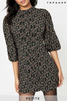 Topshop Petite Pin Tuck Vintage Floral Mini Dress