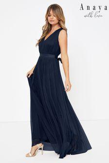 Anaya With Love Navy Regular Bow Back Wide Strap Maxi Dress