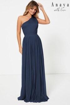Anaya With Love Navy Regular One Shoulder Maxi Dress