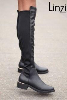 Linzi Black PU Riding Boot With Gold Trim Heel