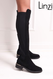 Linzi Black Suedette Riding Boot With Gold Trim Heel