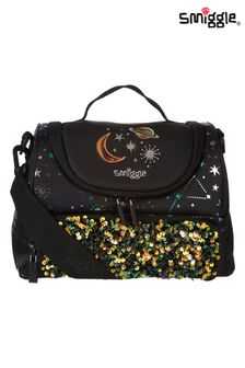Smiggle Black Lunar Double Compartment Lunchbox