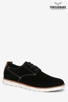 Threadbare Black Lace-Up Contrast Stitch Shoe