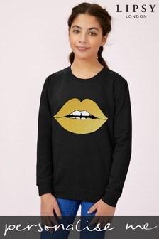 Personalised Lipsy Glitter Lips Kid's Sweatshirt by Instajunction