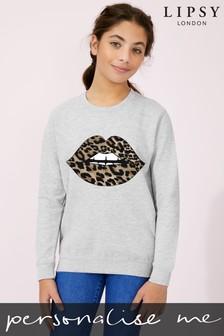 Personalised Glitter Lips Kid's Sweatshirt by Instajunction
