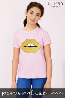 Personalised Lipsy Glitter Lips Kid's T-Shirt by Instajunction
