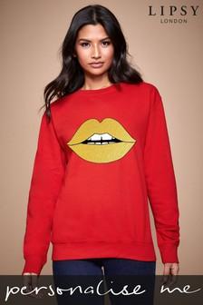 Personalised Lipsy Glitter Lips Women's Sweatshirt by Instajunction